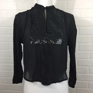 Free People Black Comb Button Up Sequin Top Small